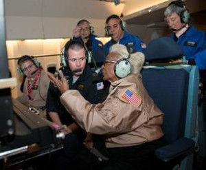 Nichelle Nichols and SOFIA scientist Andrew Helton discuss how SOFIA's instruments capture infrared energy from star forming regions during the Sept. 15 flight. [NASA Photo / Carla Thomas]
