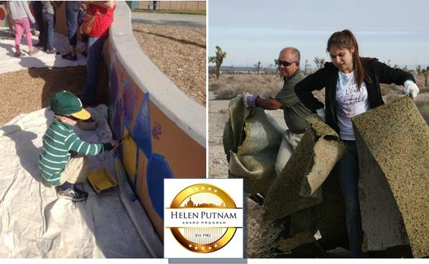 """Palmdale won the Helen Putnam Innovation Award for its """"Season of Service"""" volunteer program. – Residents of all ages turned out for the city's Season of Service events, which included a desert cleanup (pictured). [Helen Putnam award graphic courtesy cacities.org]"""