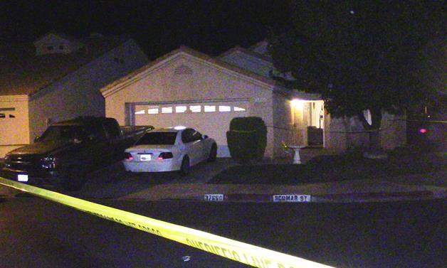 The incident happened around 8 p.m. Saturday, Oct. 17, outside this house in the 37600 block of Scomar Street in Palmdale. [Photo by LUIS MEZA]