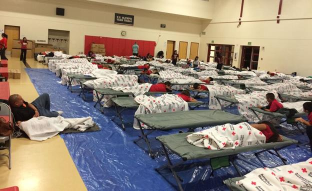 The Arvin students were housed overnight at the Palmdale Learning Plaza in the gymnasium on cots. [contributed]