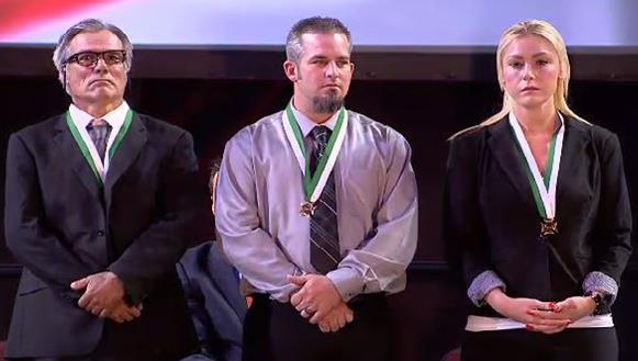 Ricardo Valenzuela, Cory Mulvey, and Elizabeth Ann Herring were honored Tuesday, Nov. 3, during the Los Angeles County Sheriff's Department's Valor Awards ceremony for helping a sheriff's deputy subdue a suspect. [Image courtesy LASD]