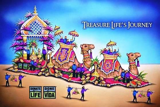 """Artist rendering of the13th Donate Life parade float, entitled """"Treasure Life's Journey."""" [contributed]"""