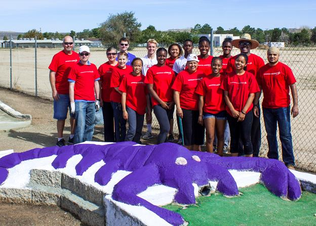 "Students at Desert High School received help restoring the school's mini golf course from Lockheed Martin employees on national ""Make a Difference Day"" Oct. 24. Lockheed donated $1,350 to be used in supplies for the project."