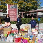 (L to R): Anita Sencion, Wendy Fuentes, and Lance Robinson of Kaiser Permanente Antelope Valley deliver food and personal hygiene items donated by Kaiser Permanente Antelope Valley physicians and employees to Antelope Valley College's Heart and Hands Pantry.