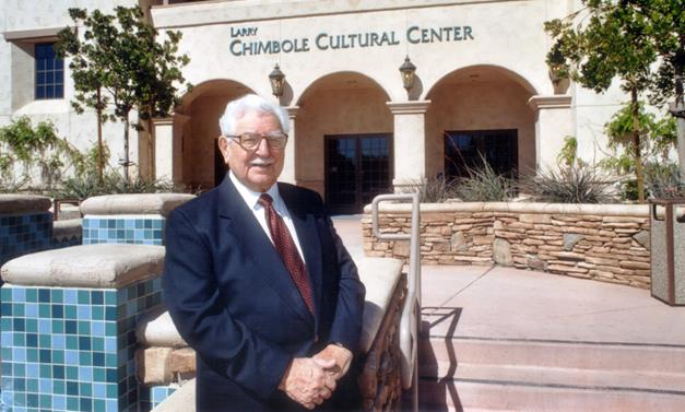 Larry Chimbole stands in front of the community center that bears his name. [Image courtesy City of Palmdale.]