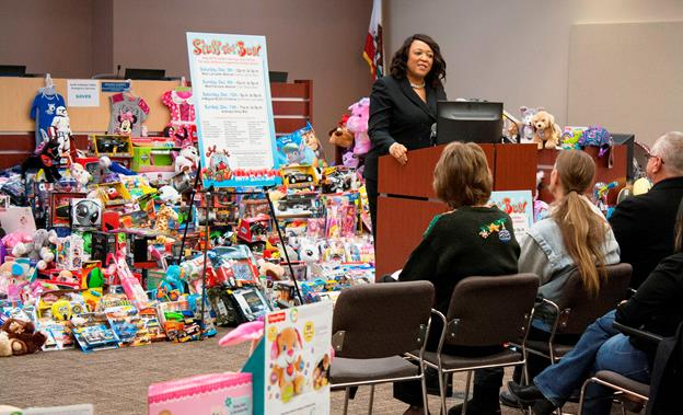 Lancaster Councilwoman and AVTA Director Angela Underwood-Jacobs speaks at the bagging party Wednesday, Dec. 16, for the transit agency's Stuff-a-Bus holiday toy drive. [contributed]