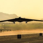 B-2 Spirit stealth bomber Spirit of Kitty Hawk lifts off from U.S. Air Force Plant 42, Palmdale, for its delivery flight to Whiteman AFB. [contributed]