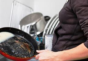 Prior to washing, scrape and dry wipe pans with paper towels and dispose of those materials in the trash, city officials advise. [contributed]