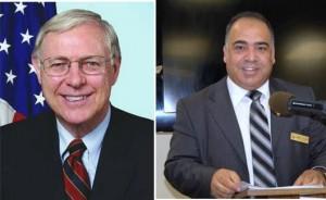 Supervisor Antonovich [left]. Palmdale resident Kamal Al-Khatib [right]