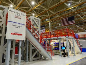 """Northrop Grumman's F-35 Integrated Assembly Line in Palmdale was named """"Assembly Plant of the Year"""" by Assembly Magazine in 2013, the first and only time to date that this honor has been bestowed on an aerospace and defense contractor. [contributed]"""