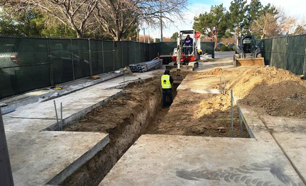 Crews are now creating pathways for the primary and secondary wiring conduits to bring power from Edison to the equipment controlling the charging pad at the Lancaster transfer center. [contributed]