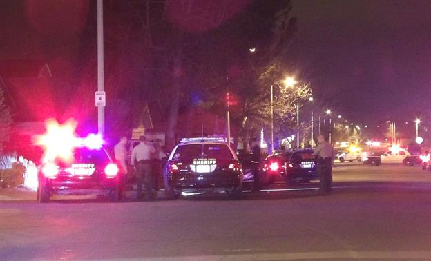Deputies converge on the 2400 block of East Avenue R-4 Saturday, where Cory Rodriguez was shot to death. [Photo by LUIS MEZA]