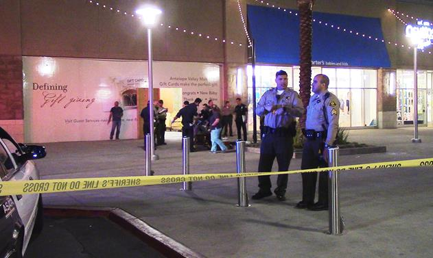 The shooting happened around 5:55 p.m. Wednesday, Feb. 24, outside the Antelope Valley Mall in the 1200 block of West Rancho Vista Boulevard in Palmdale. [Photo by LUIS MEZA]
