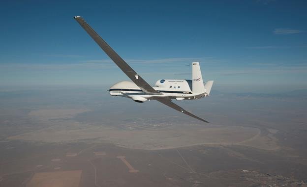 NASA's remotely piloted Global Hawk aircraft will complete a series of flights in February to support the National Oceanic and Atmospheric Administration's (NOAA) El Niño Rapid Response Field Campaign. The mission, called Sensing Hazards Operational Unmanned Technology or SHOUT, will focus on gathering El Niño storm data out over the Pacific Ocean. [NASA photo / Jim Ross]
