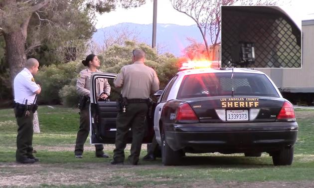 Deputies on scene Sunday, Feb. 28, at the Stephen Sorensen Park, where the alleged attack took place. [Inset] One of the suspects in the back of a patrol car. [LUIS MEZA]