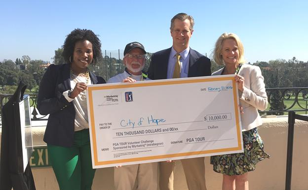 PGA TOUR Volunteer Challenge winner Richard Olmsted of Lancaster, Calif., (second from left), joined Deidra Ellis, Specialty Regional Sales Manager, Southern California, for Astellas Pharma US, Inc. (left), Robert Stone, Chief Executive Officer, City of Hope (second from right); and Kristin Bertell, Chief Philanthropy Officer, City of Hope (right), to present a $10,000 check to City of Hope on behalf of Astellas. The donation honors Olmstead for winning the PGA TOUR Volunteer Challenge at the recent Northern Trust Open at The Riviera Country Club in Pacific Palisades, Calif. [contributed]