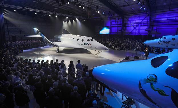 Virgin Spaceship Unity is unveiled in Mojave Friday Feb. 19th, 2016. [Mark Greenberg/Virgin Galactic]