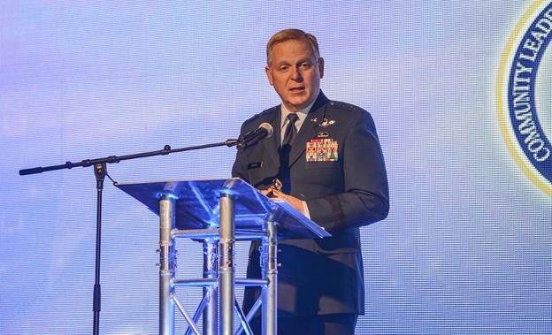 Maj. Gen. David Harris, Air Force Test Center commander, speaks at the Antelope Valley Board of Trade's Annual Business Outlook Conference Feb. 26 at the Antelope Valley Fairgrounds. (U.S. Air Force photo by Rebecca Amber)