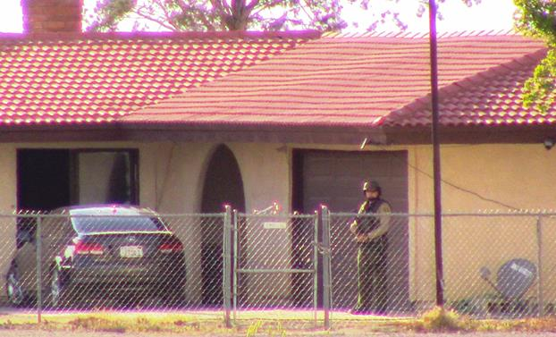 The shooting happened at the suspect's residence in the 4600 block of East Avenue G in Lancaster, authorities said. [Photo by LUIS MEZA]