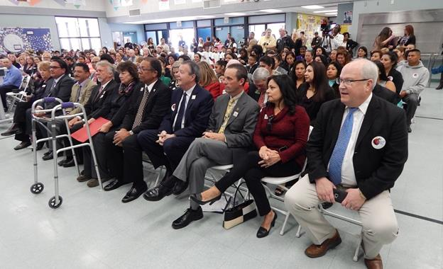 """Elected officials, community leaders, school district superintendents and local organizations gather at Summerwind Elementary School March 30 for an Innovation Summit to unveil the """"Palmdale Promise: Early Learning Literacy Initiative."""" [contributed]"""