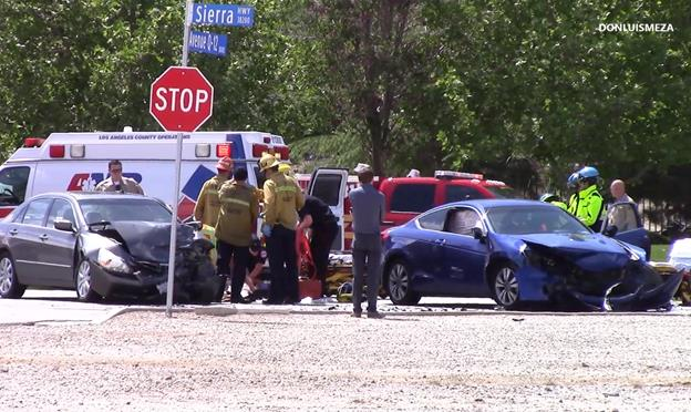 The collision happened around 1:45 p.m. Monday, April 11, on Sierra Highway at the intersection of Avenue Q-12. [Photo by LUIS MEZA]