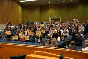 Following the protest outside, the group converged on the Board of Supervisors meeting Tuesday, April 12. Photo courtesy: SEIU 721 Facebook page. View the complete album of photos here.