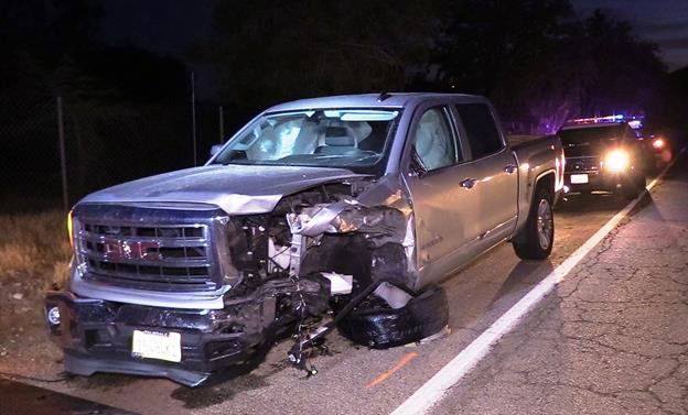 Bradley Russell McLeod, 56, of Palmdale, fled the scene in a 2015 GMC Sierra until his vehicle became disabled, according to the CHP. He was found about a half-mile from the scene and he was detained and later arrested on suspicion of DUI and hit and run, the CHP reported. [Photo by LUIS MEZA]