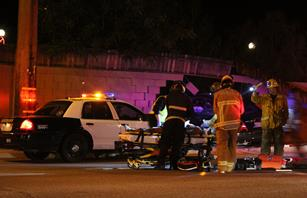 The driver was transported to a hospital unconscious and in serious but stable condition, officials said. [LUIS MEZA]