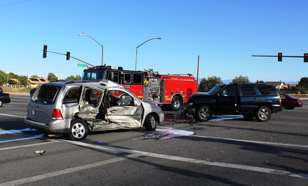 The crash happened on Avenue K at 20th Street East in Lancaster. [Photo by LUIS MEZA]
