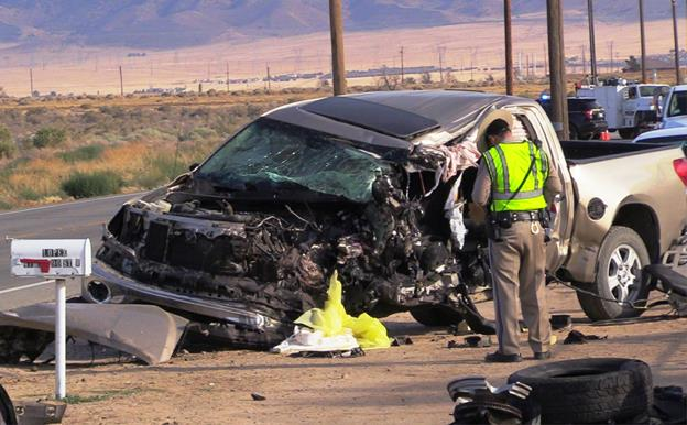 The Toyota Tundra's driver, 26-year-old Jeffrey L. Dixon of Lancaster, was pronounced dead at the scene, according to the CHP. [Photo by LUIS MEZA]