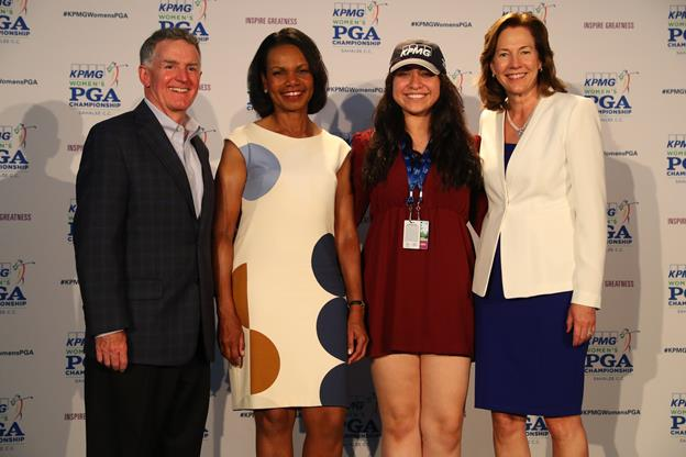 Palmdale's Evelyn Valencia (second from the right) is pictured with KPMG Global Chairman John Veihmeyer, 66th U.S. Secretary of State Condoleezza Rice, and KPMG U.S. CEO and Chairman Lynne Doughtie during the official announcement of the KPMG Future Leaders Program at the PGA Championship June 7 in Washington. [contributed]