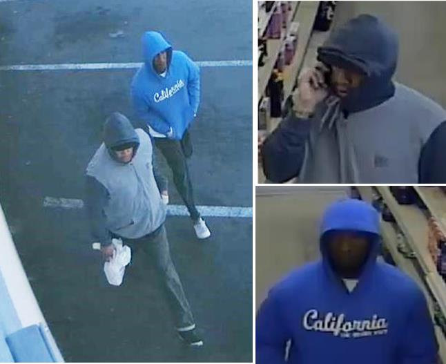 "The suspects are believed to be about 20 years old, with thin builds. One was wearing a blue hoodie with ""California"" on the front, black pants and white shoes. The other was wearing a gray jacket with black sleeves, dark-colored pants and black shoes. [Images courtesy LASD]"