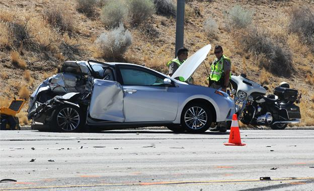 """William Speer was the driver of a 2014 Toyota Corolla that was """"either completely stopped or [travelling] at a slow rate of speed behind traffic ahead"""" when it was rear-ended by a 2003 Ford Econoline cargo van, according to the California Highway Patrol. [Photo by LUIS MEZA]"""