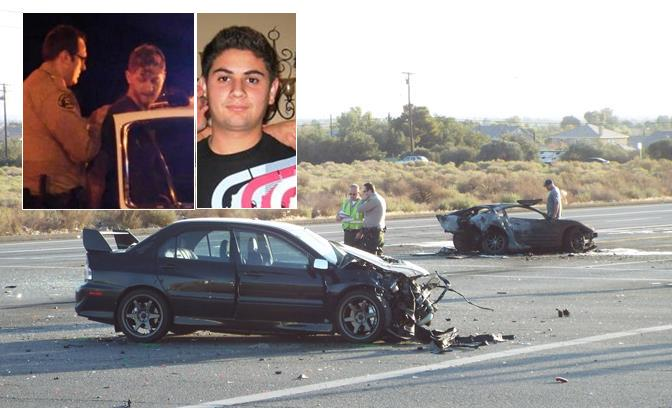 [Inset: Jeffrey Cole Brooks is arrested after Sept. 26, 2014 crash. Contributed image of victim Daniel Eduardo Orellana. ] Main: The two vehicles after the early morning crash at Avenue S and Sierra Highway in Palmdale. [LUIS MEZA]