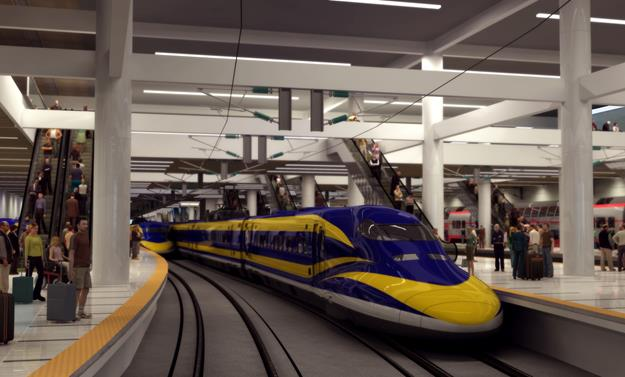 An artist's rendering of the High Speed Rail Multi-Modal Train Station. [Image via city of Palmdale]