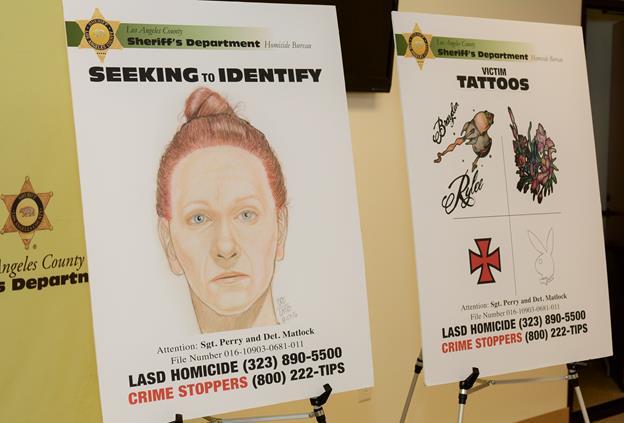 At a press conference Aug. 18, authorities released drawings of the face and tattoos of the woman whose body was found near state Route 138 in the unincorporated Gorman area in hopes of identifying her. She was later identified as Kimberly Harvill, according to the sheriff's department.