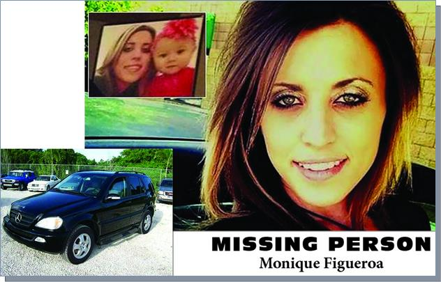 Monique Figueroa, the 28-year-old mother of a 2-year-old daughter, was last seen driving away from her home in the 7200 block of East Avenue U-12 around 4 a.m. on May 19, 2015, according to the Sheriff's Department. Her car, a 2004 Mercedes-Benz, was recovered 12 days later in an abandoned shed in Juniper Hills.