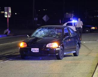 The pedestrian was in the roadway when he struck by a black 1996 Honda Civic, sheriff's officials said. [LUIS MEZA]
