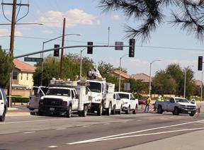 The worker was on the ground near an Edison pole when he was struck, SCE officials said. [LUIS MEZA]