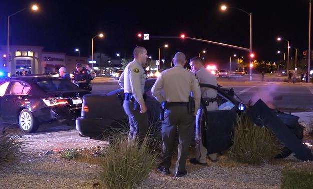 The three-vehicle crash happened around 9:47 p.m. Monday, Oct. 17, in the intersection of 47th Street East and Avenue R in Palmdale. [LUIS MEZA]