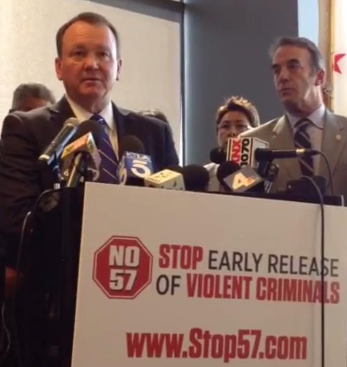 Sheriff Jim McDonnell speaks against Proposition 57 at a press conference Thursday, Oct. 20.