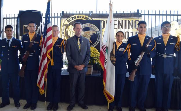 "Congressman Steve Knight and members of the William J. ""Pete"" Knight High School's JROTC pose for pictures after a dedication ceremony at Knight Prep Academy in Palmdale. [Contributed image.]"