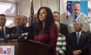 Tania Owen, the wife of slain Los Angeles County Sheriff's Department Sgt. Steve Owen speaks at an event in San Dimas organized by the Professional Peace Officers Association.