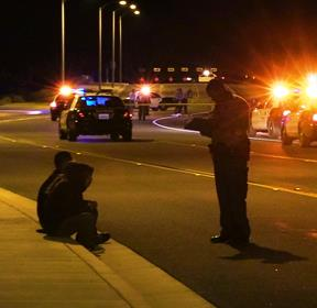 Witnesses who saw the victim lying in the roadway of the southbound lanes stopped and called for help. [LUIS MEZA]
