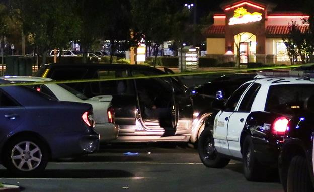The incident happened around 7 p.m. Monday, Nov. 7, in the parking lot of the strip mall in the 1700 block of East Avenue J in Lancaster. [Photo by LUIS MEZA]