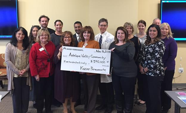 Local nonprofit leaders joined local Kaiser Permanente leadership recently for a check presentation. The $590,000 check represents grants awarded from Kaiser's local offices ($139,000+), as well as grants to the Antelope Valley community awarded from Kaiser's regional offices ($450,000). [Contributed image]